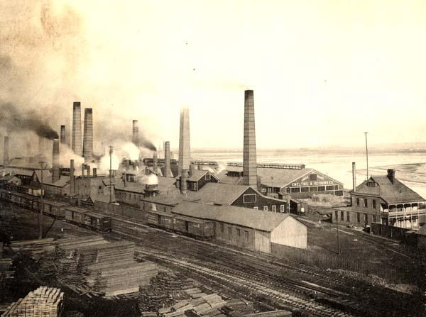 Old black and white photo of the Omaha Smelting Works buildings